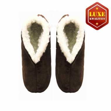 Bruine suede Spaanse pantoffels dames maat 38
