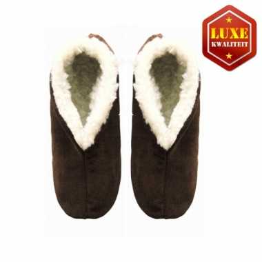 Bruine suede Spaanse pantoffels heren maat 46