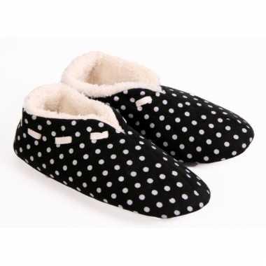 Zwarte spaanse pantoffels met stippen voor dames